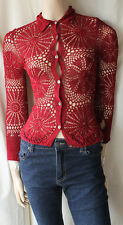 £120 KAREN MILLEN DARK RED BEADED (HAND?) CROCHETED CARDIGAN SIZE 1/6-8/EU 34-36