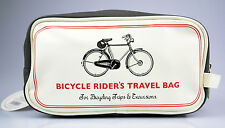 "Schöne Kulturtasche, Kunstleder, Retro-Motiv ""Bicycle Rider's Travel Bag"""
