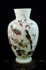 Antique Victorian Bohemian Harrach Cherry Blossom & Bird Enameled Art Glass Vase