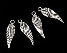 925 Sterling Silver 4 Angel Wing Charms 5x16mm.