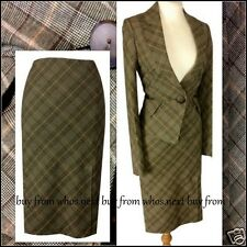 64 Next Size 8 10 40s 50s Vintage pencil skirt suit ladies checked brown wool
