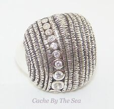 Silpada Cubic Zirconia Sterling Silver Ribbed R2981 Ring Size 7 Retired