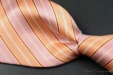 NEW - BRIONI Orange Pink Striped Satin 100% Silk Mens Luxury Tie - 3.50""