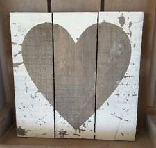 Wooden Wall Heart Plaque Shabby Vintage Chic Rustic Aged Brown Sign Xmas Gift **