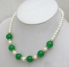 Beautiful white Pearl Necklace with green Emerald