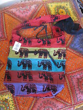 Cotton Elephant print shoulder bag. Made in India Hippy Festival