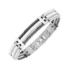 """Gents Titanium and Black Twisted Wire Ropes Bracelet 8.25"""""""