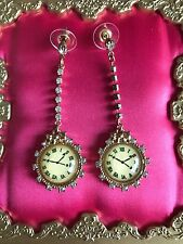 Betsey Johnson Vintage School Of Dance Crystal Lucite Clock Earrings VERY RARE