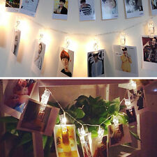 Warm 20 LED Battery Powered LED Photo Clip Hanging String Light Party Wall Decor