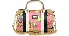 RIVER ISLAND Baroque Bowler Tote Bag in Natural Tan with Multi Scarf Print