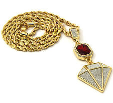 """Mens Gold Plated Red Ruby & Diamnd Set Cz Pendant Hip Hop 24"""" Rope Chain D371"""