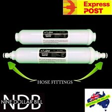 "2 X 10"" Inline Carbon Water Filters Garden Hose Fittings Fridge Caravan FASTPOST"