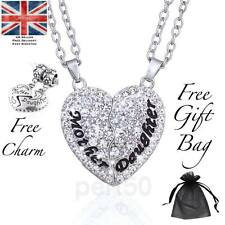 High Quality White Crystal Mother & Daughter Heart Pendant Necklace Charm Set UK