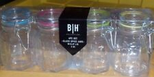 GLASS SPICE JARS FROM BLUE HARBOR - SET OF 4 WITH CLIP HINGE TOPS NEW IN BOX