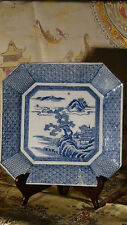 ANTIQUE 19C CHINESE PORCELAIN BLUE AND WHITE LARGE  PLATE LANDSCAPE SCENES