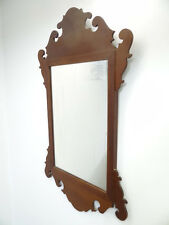 Vintage Used Chippendales Style Wood Wooden Elverston 1938 Hanging Wall Mirror
