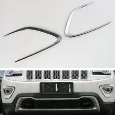 2x Silver Front Fog Light Bumper Protector Cover Trim For Grand Cherokee 14-2016