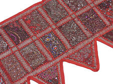 Red Stylish Window Valance Topper - Kundan Sari Patchwork Door Hanging Toran 60""