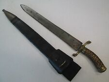 EARLY GERMAN HUNTING HANGER SWORD WITH SCABBARD SAWBACK BLADE #L311