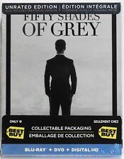 Fifty Shades of Grey Steelbook (Blu-Ray/DVD Combo) Best Buy Excl (Unrated) NEW