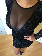 Sexy Bodycon Black All-Over Sequins Mesh Accent Long Sleeves Party Dress Large