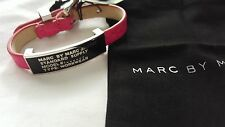 Marc By Marc Jacobs Standard Supply ID Leather Bracelet Pink Black NEW $88