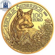 Österreich 100 Euro Gold 2016 Goldmünze Den Wildtieren auf der Spur, Der Fuchs