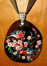 Russian UNIQUE GIFT hand painted STONE pendant RED ROBIN BIRDS signed Gorbachova