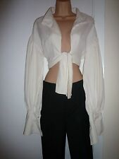 VINTAGE NORMA KAMALI PIRATE SHIRT PARACHUTE SLEEVE CREAM SILK TOP BLOUSE RARE 8