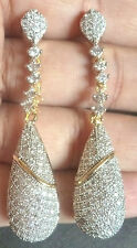 Genuine Cubic Zirconia AD Gold Silver Plated Indian Earrings Set h