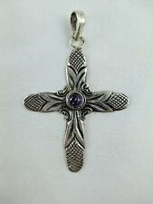 Vintage Amethyst Sterling Silver Cross Pendant 950? Silver Signed 232B