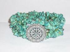 STUNNING LADIES BEAUTIFUL STERLING SILVER 925 & REAL TURQUOISE BRACELET JEWELERY
