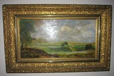 ANTIQUE gilded gilt FRAME Wisconsin w/ country farm landscape oil painting board