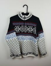 WOMENS VTG AZTEC CHUNKY KNIT SNOWFLAKE NORWEGIAN STYLE OVERSIZED JUMPER UK S/M