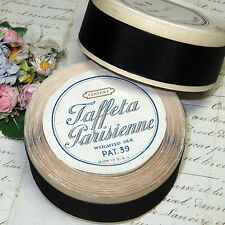 10y SPOOL VTG FRENCH PARIS BLACK SILK GROSGRAIN RIBBON MILLINERY HAT TRIM WORK