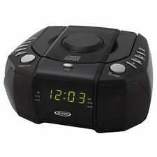 New Jensen Dual Alarm Clock Radio CD Player & AUX-In for iPod/MP3 Player Black