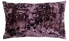 LUXURIOUS PURPLE AUBERGINE CRUSHED VELVET THICK BOUDOIR CUSHION COVER 30 X 50CM