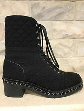 NIB Chanel 16B Black Tweed Chain Quilted Leather Lace Up Tie Heel Combat Boot 38