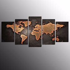 FRAMED Canvas Art Prints Brown World Map Wall Art Canvas Painting-5pcs