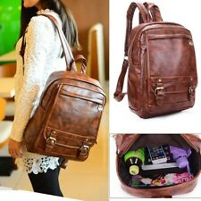 Women's Leather Large Daypack Backpack Bookbag Messenger Handbag Purse Brown