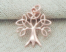 925 Sterling Silver  Rose Gold Vermeil Style Tree of Life Charm