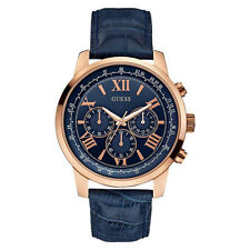 NEW GUESS WATCH Men * Chronograph * Rose Gold * Blue Leather Band * U0380G5
