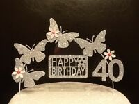 Silver Birthday Cake Decoration /Glitter Butterfly/ Topper/ Arch