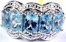 Madagascar Paraiba Apatite 5 Stone Ring Sterling Silver (Size 7) TGW 3.10 Cts