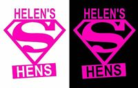 Personalised Superhen hen party iron on t-shirt transfers a5 a4