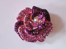 """Floral Purple Crystal Brooch Pin Gold Tone Base 1 7/8"""""""
