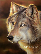 """Timber Wolf Art Print 8x10 Giclee Image """"Evening Scout"""" by Artist Roby Baer PSA"""