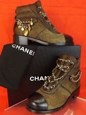 NIB CHANEL BROWN GOLD CHARMS CHAIN BLACK CAP TOE PONY HAIR ANKLE BOOTS 38 $2K