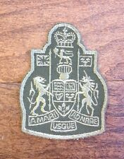 Vintage Military Patch Canadian Coat of Arms Green Background Green Embroidery
