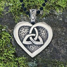 "Heart of the Celts - Triquetra and Heart Celtic Knot Pendant Inscription: ""Love"""
